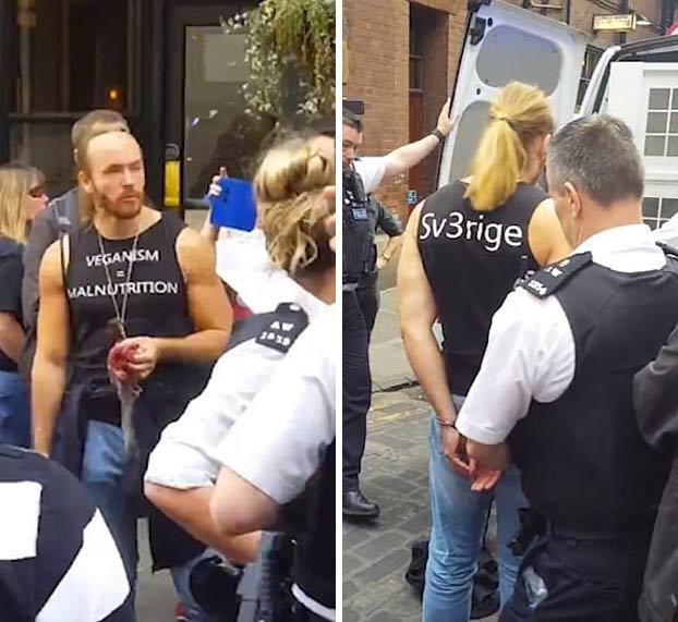 Un youtuber anti-vegano es detenido después de comerse una ardilla cruda delante de un mercado vegano