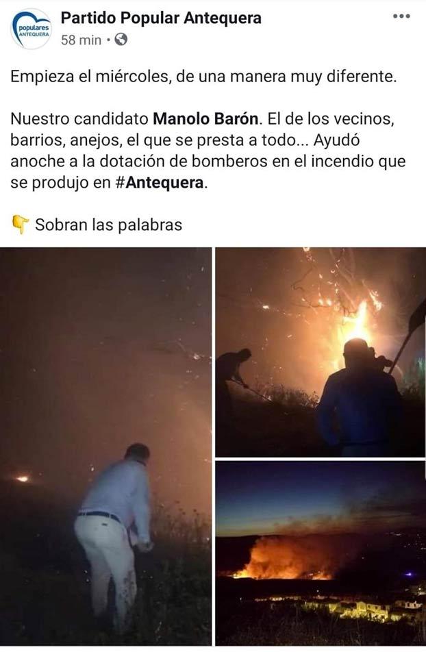 El alcalde de Antequera Manolo Barón se cuela a apagar un fuego en corbata y a hacerse selfies