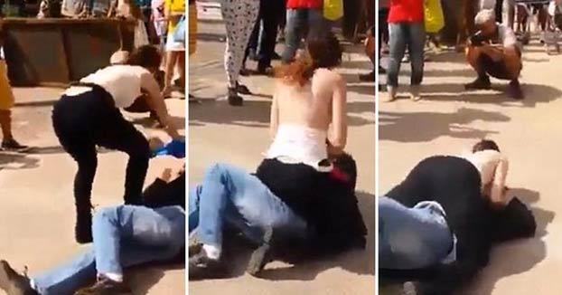 Una mujer frota sus pechos contra un acosador en plena calle
