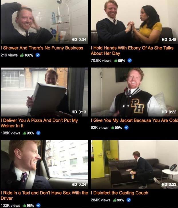 El cómico Ryan Creamer publica vídeos en Pornhub de actividades cotidianas y tienen miles de visitas