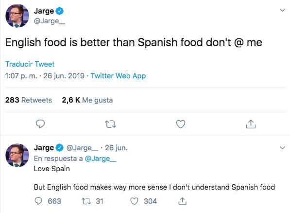 Un británico defiende que la comida inglesa es mejor que la española y le responde hasta Chicote