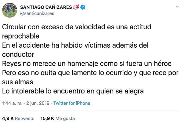 Polémica en las redes por las palabras de Santiago Cañizares sobre la muerte de Reyes