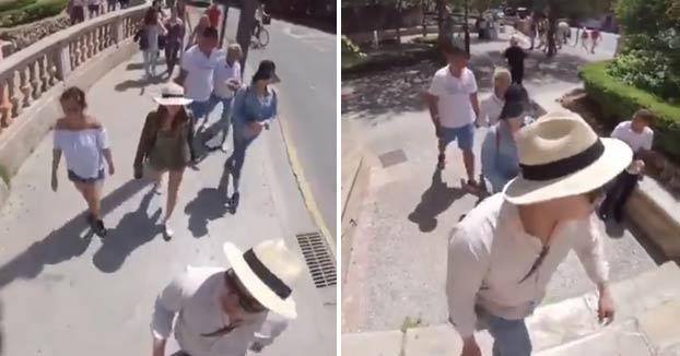 Unos turistas graban con su propia cámara 360 cómo unos carteristas les roban en Palma de Mallorca