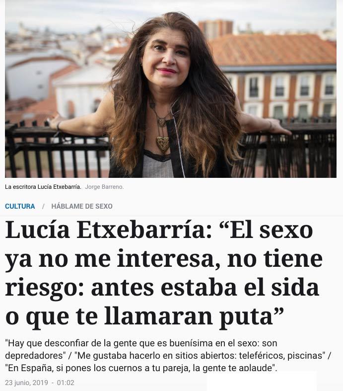 Lucía Etxebarría explica por qué ya no le interesa el sexo