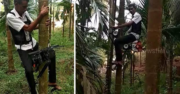 La ''moto'' para trepar árboles del agricultor indio Ganapathi Bhat