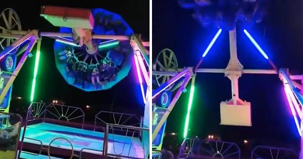 Una mujer cae de la atracción de feria 'El Péndulo' y luego es golpeada cuando la máquina gira