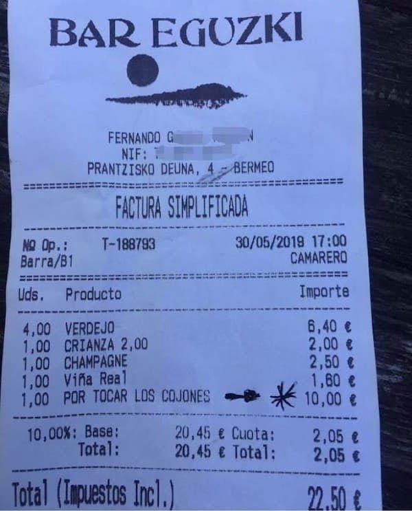Un bar vasco cobra un extra de 10 euros a un cliente por ''tocar los cojones''
