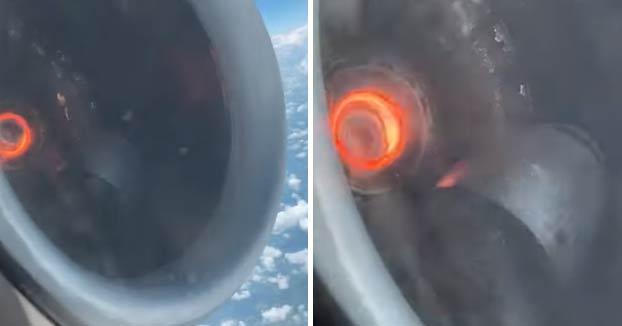 El pasajero de un avión graba la avería de un motor en pleno vuelo