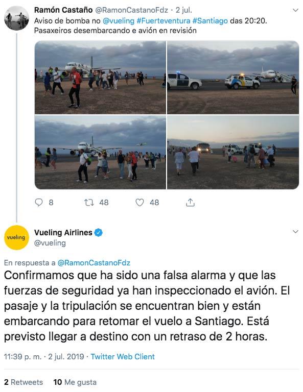 Un niño de 11 años es el autor de la nota con amenaza de bomba que obligó a desalojar un vuelo de Fuerteventura a Santiago