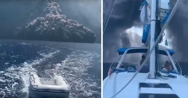 Un velero escapa de un flujo piroclástico del Stromboli, en la nueva gran erupción que ha sacudido al volcán italiano