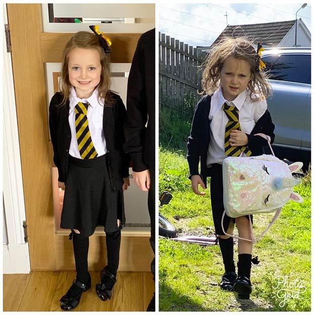 La foto del antes y el después del primer día de cole de una niña escocesa. Parece que ha ido a la guerra