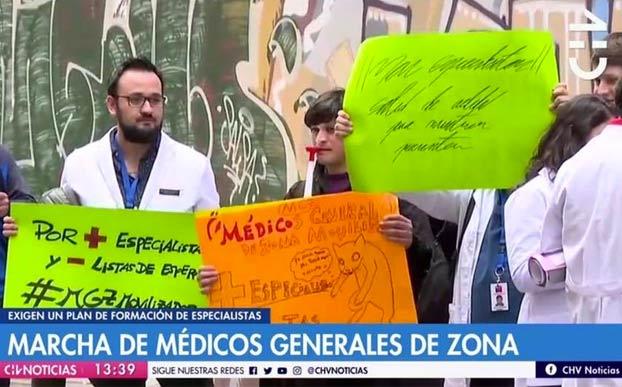 Pancarta en marcha de médicos