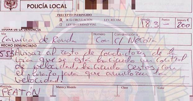 Multan a un peatón por avisar de la presencia de un control de velocidad en Granada