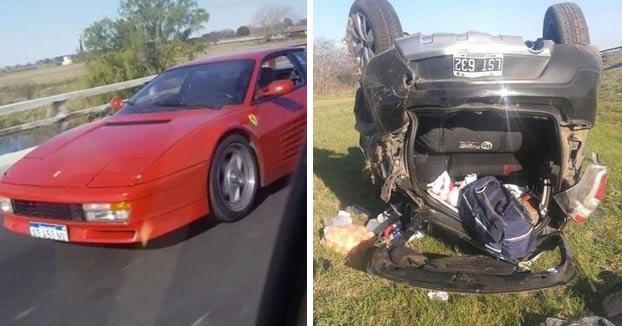 Adelantan a un Ferrari con un Sandero, lo graban para reírse y terminan volcando