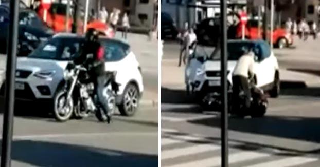 Un conductor atropella a un motorista tras una discusión de tráfico en Oviedo