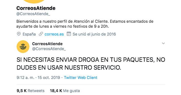 Hackean la cuenta de atención al cliente de Correos y publican mensajes sobre drogas