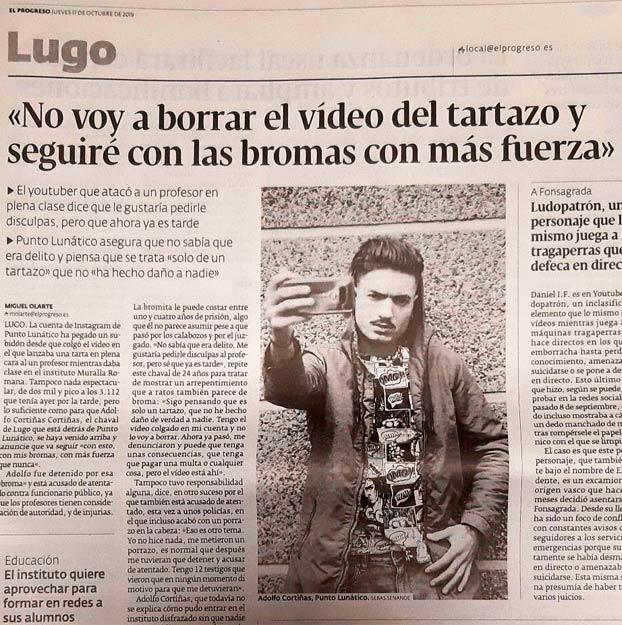 El youtuber que atacó al profesor: ''No voy a borrar el vídeo del tartazo y seguiré con las bromas con más fuerza''