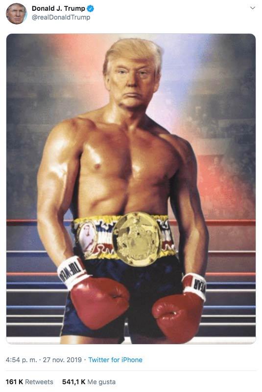 Donald Trump publica un fotomontaje a lo Rocky Balboa y el cachondeo no se hace esperar