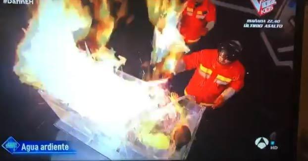 Un hombre casi se quema vivo en un experimento en El Hormiguero