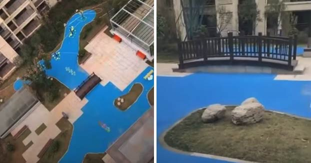 Venden pisos en China con vistas a un lago y resulta que es de plástico
