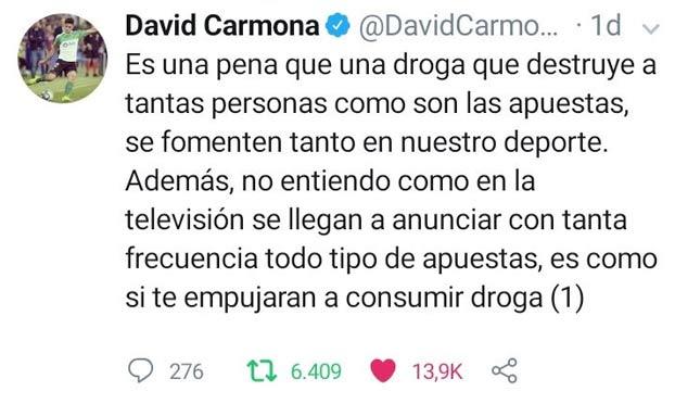 David Carmona, jugador del Racing de Santander, estalla en Twitter contra las casas de apuestas y el hilo desaparece en 24 horas