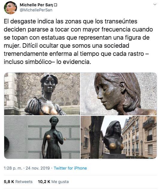 ''El desgaste indica las zonas que los transeúntes deciden pararse a tocar con mayor frecuencia cuando se topan con estatuas que representan una figura de mujer...''