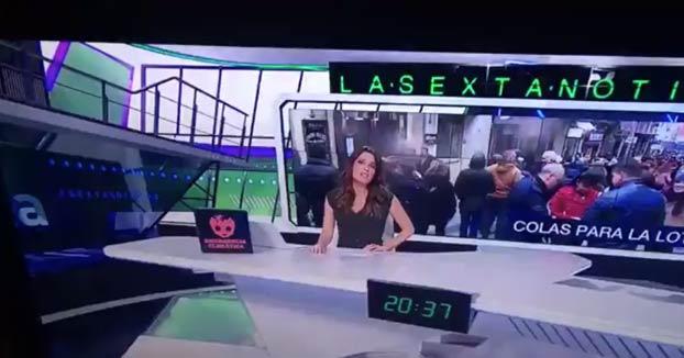 A esta presentadora de La Sexta le traiciona el subconsciente: ''En Doña Manolita la poll... la cola es tan larga...''