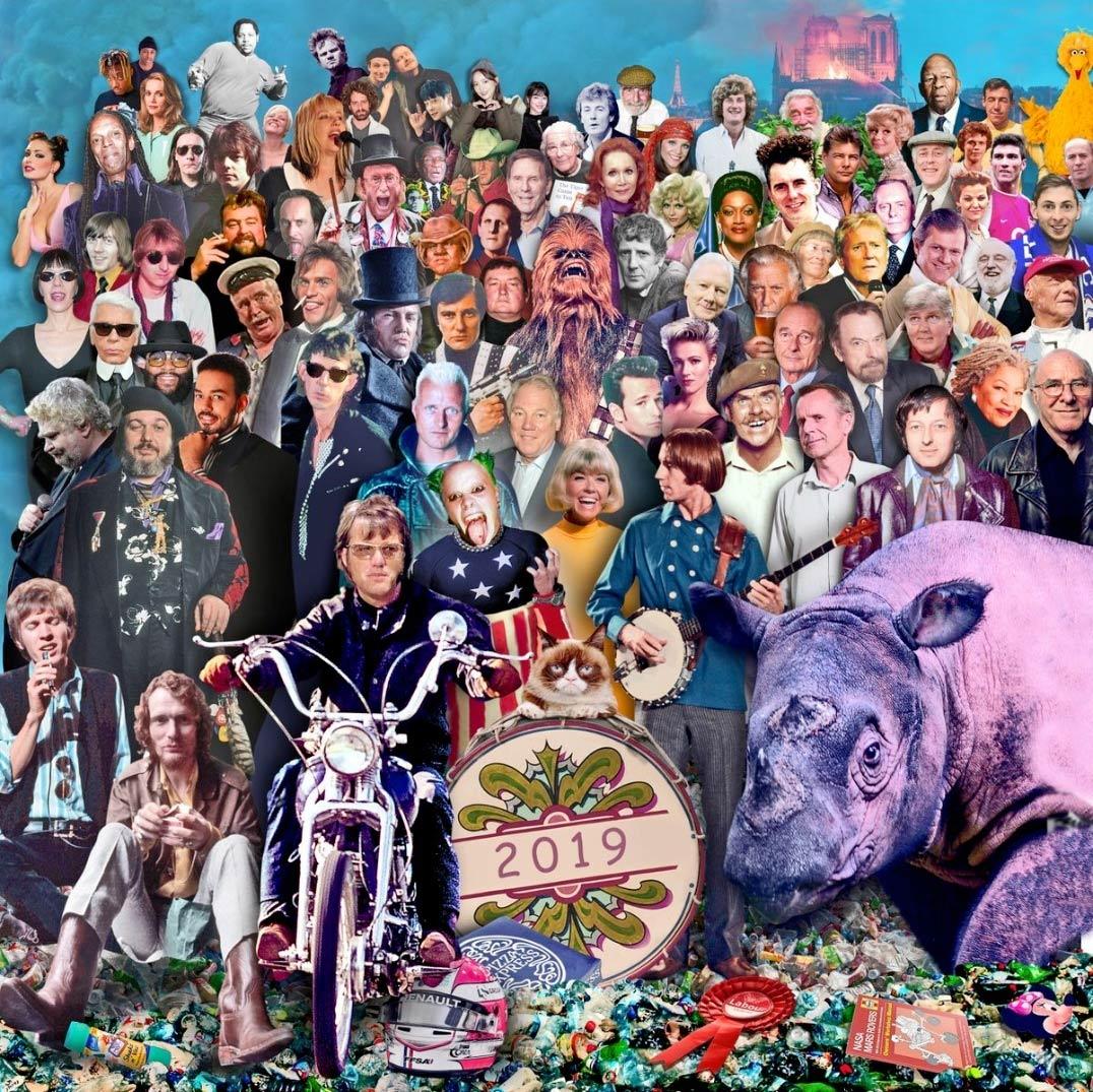 El recuerdo de los famosos fallecidos en 2019, como si fuera una portada de Sgt. Pepper's Lonely Hearts Club Band