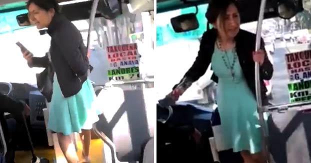 Una mujer insulta y llama machista al conductor del autobús por no dejarle bajar por la puerta delantera