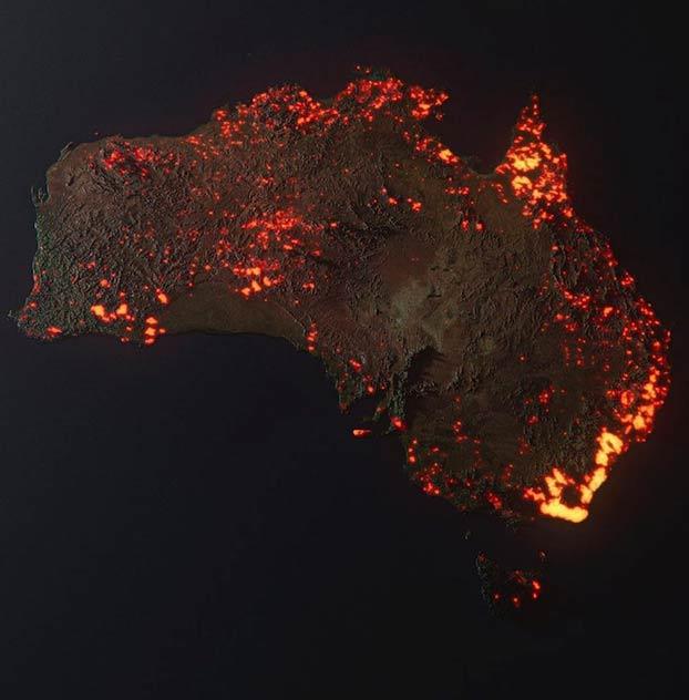 Recreación en 3D de los incendios en Australia basada en datos de la NASA