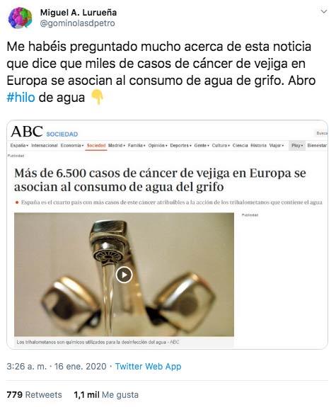 Miguel A. Lurueña analiza la noticia de que más de 6.500 casos de cáncer de vejiga en Europa se asocian al consumo de agua del grifo