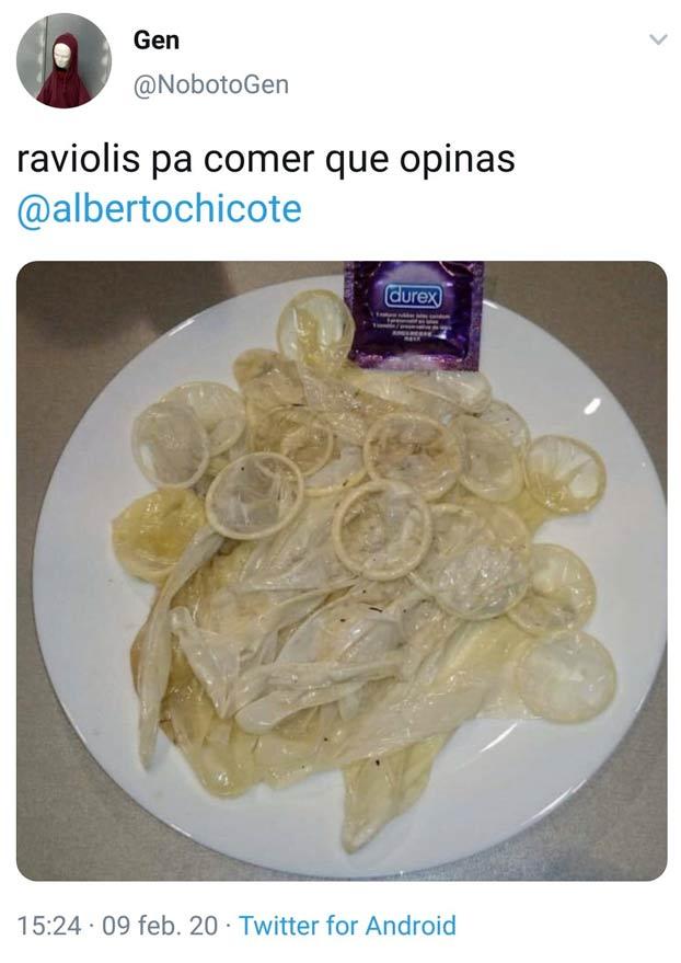 Intenta trolear a Alberto Chicote con una foto de preservativos simulando ser raviolis y se lleva un buen zasca