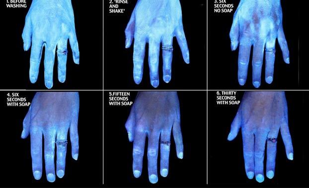 Las bacterias que se adhieren a tus manos después de diferentes métodos de lavado, en una sola imagen
