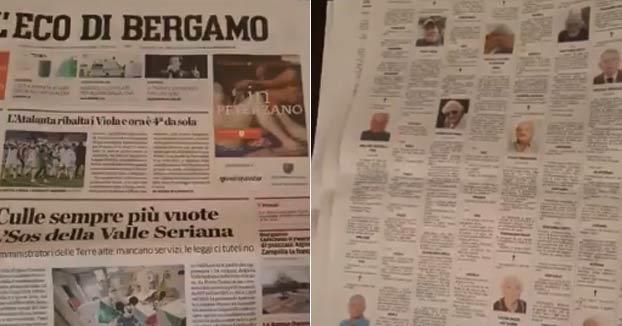 Comparación de las esquelas del periódico 'L'Eco di Bergamo': 9 de febrero vs 13 de marzo