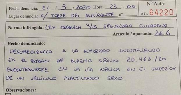 Multada una pareja en Algeciras por mantener relaciones en el coche durante el confinamiento por el coronavirus