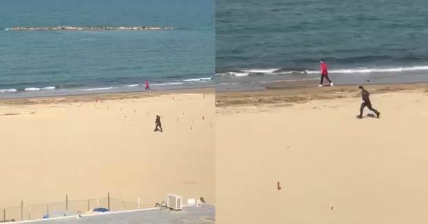 Un runner escapa a la carrera de un policía mientras corría por la playa tras saltarse el confinamiento