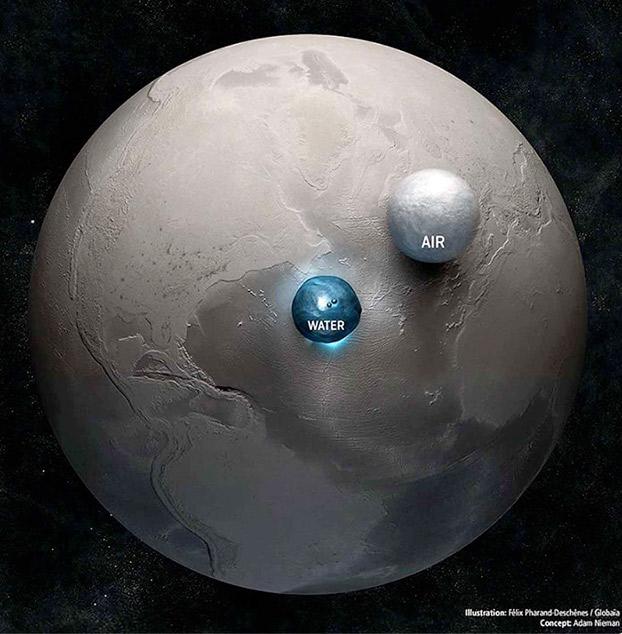 Todo el agua y el aire del planeta representados en forma de esferas junto a la Tierra
