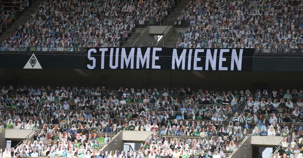 Bundesliga: a falta de hinchas, 13.000 figuras de cartón los reemplazaron en el estadio Borussia Park