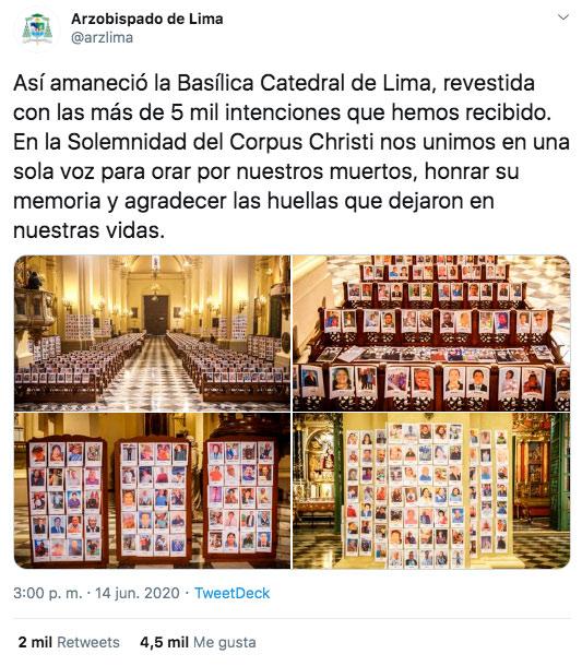 Colocan por error la imagen de Jordi ENP en misa de fallecidos por coronavirus en la Catedral de Lima