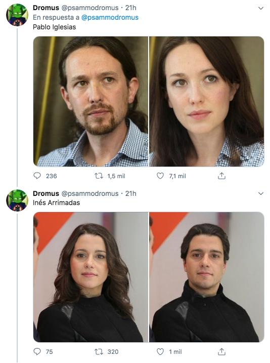 Hilo de políticos españoles cambiados de género