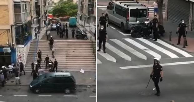 Cinco policías heridos y once detenidos en una reyerta en Alicante