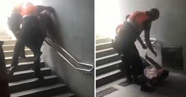 Investigan a dos vigilantes del metro por lanzar a un usuario de espaldas por las escaleras