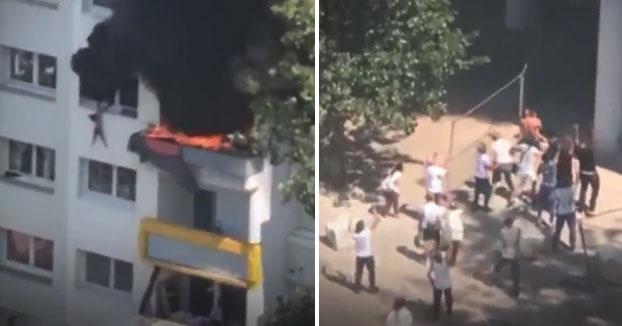 Dos niños escaparon de un piso en llamas en Francia saltando sobre los brazos de los vecinos