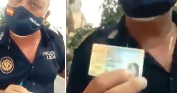Policía rebatiendo la validez del documento de Exención de mascarilla de una señora. ''Hábeas corpus ya!''