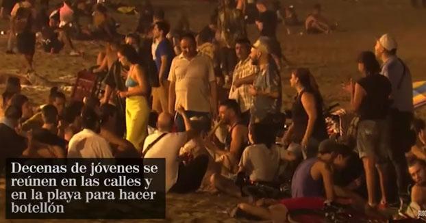 """Descontrol en los macrobotellones de Barcelona: """"Nos ponemos la mascarilla cuando viene la Policía"""""""