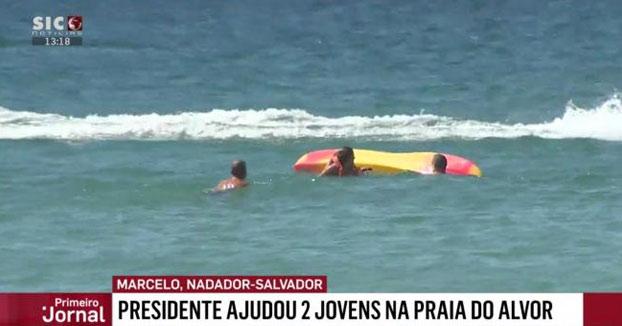 El presidente de Portugal ayuda a rescatar a dos bañistas en el Algarve