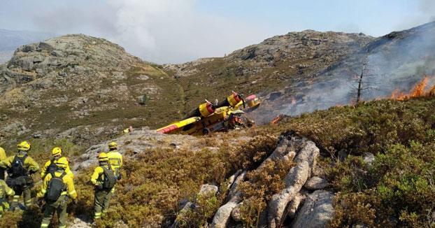 Se estrella un hidroavión cuando participaba en la extinción de un incendio forestal en Ourense