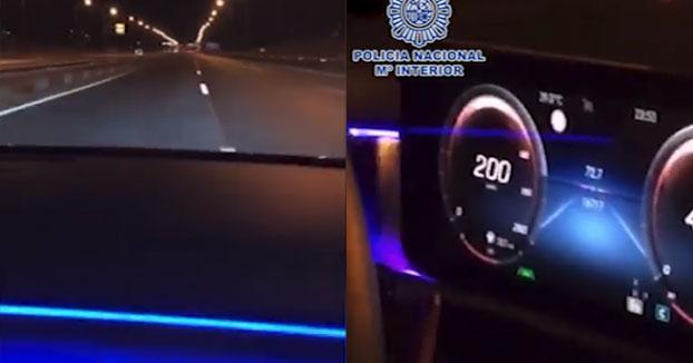 Detenido un joven tras publicar en redes sociales cómo conducía a más de 200 km/h, bailando y soltando las manos