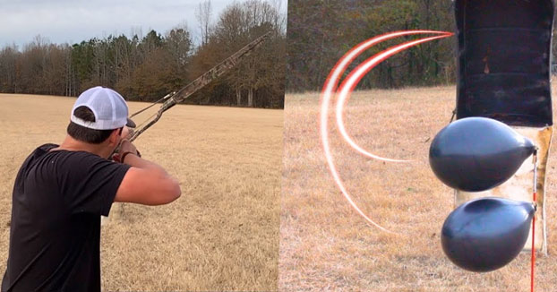 Un arquero experto muestra cómo acertar a un objetivo oculto detrás de un objeto