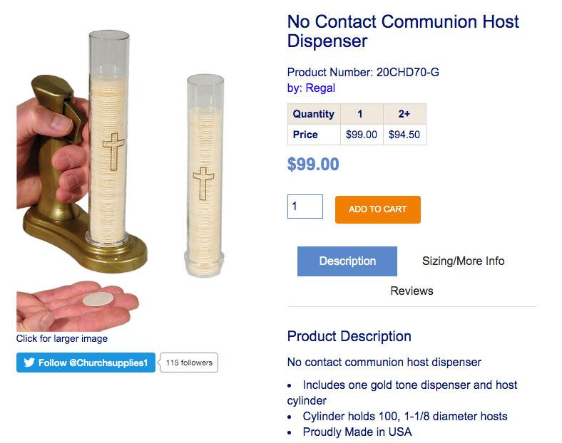 Inventan una máquina que dispensa hostias para dar la comunión ''sin contacto''